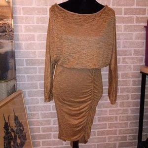 Fee People Tan Asymmetrical Rusched dress Sz M